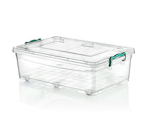 Image Is Loading Large 30L Plastic Under Bed Box Boxes Wheels