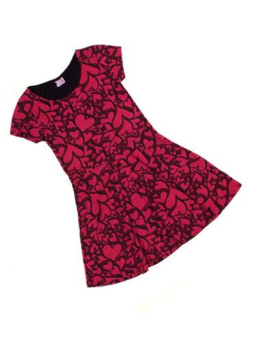 F/&f Filles rose foncé//noir motif de Cœur Robe en Jersey Âge 6 8 9 10 11 Neuf Promotion!