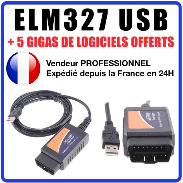 Câble / Interface ELM 327 USB - Diagnostique AUTO - LOGICIEL EN FRANCAIS