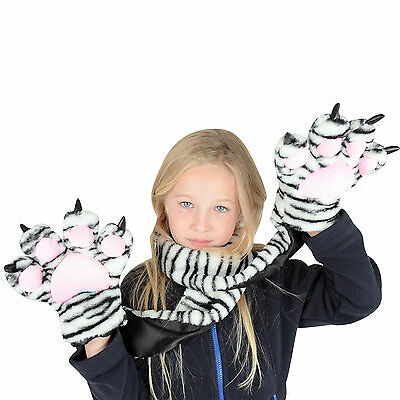 Girls Childrens Snow Tiger Scarf With Tiger Claw Hand Pockets - Brilliant Gift
