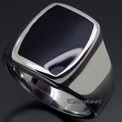 Men Women Silver Elegant Black Enamel 316L Stainless Steel Ring
