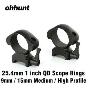 ohhunt 25.4mm 1 inch 2PCs High Profile Picatinny Weaver Rifle Scope Mounts Rings