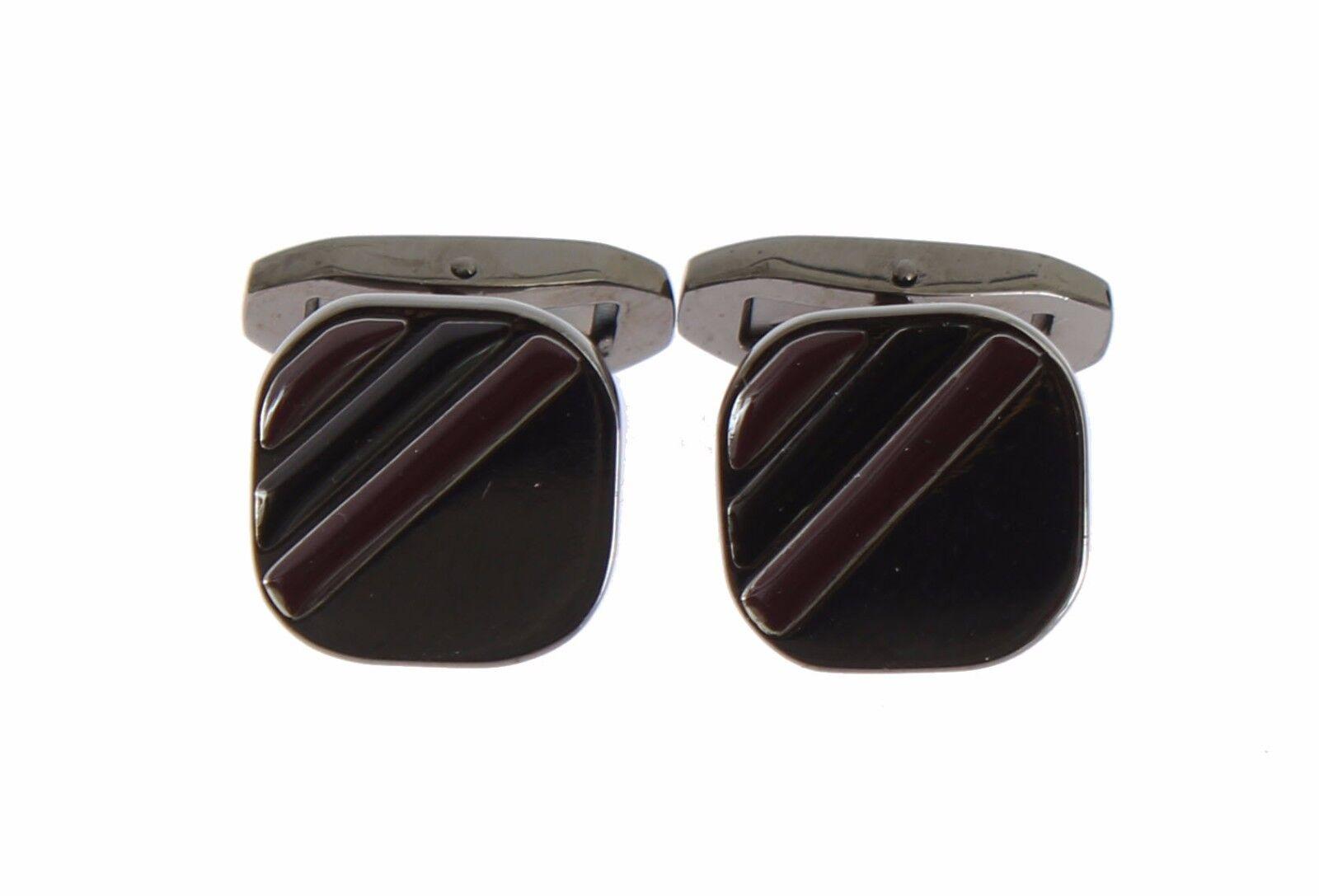 NEW $240 DOLCE /& GABBANA Cufflink Silver Brass Black Red Stone Mens Accessory