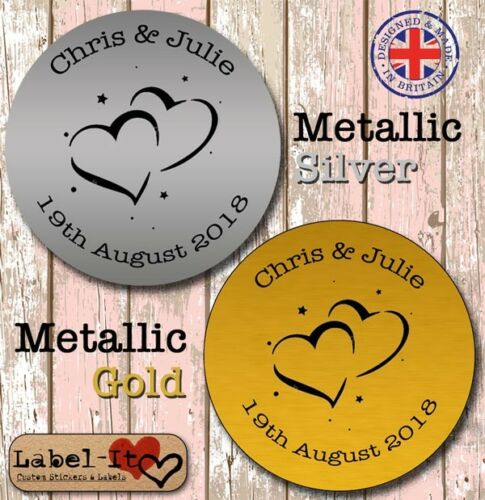 WM06 24x Personalised Metallic Gold//Silver Bride Wedding Favour Confetti Sticker