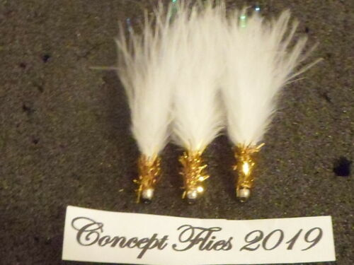 3 x size 10 WHITE AND GOLD fritz tadpole goldhead mini lure humungus on 761