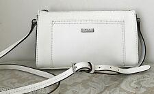 NWT RALPH LAUREN Lowell black vanilla white messenger BAG PURSE leather $128
