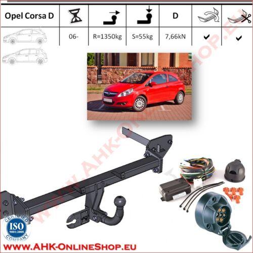 Attelage es7 Opel Corsa D Année de construction 2006-2014 hayon dispositif d/'attelage Attelage de remorque