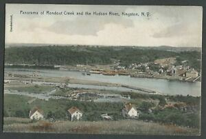 Kingston-NY-c-1910-Hand-Colored-Postcard-PANORAMA-OF-RONDOUT-CREEK-AND-HUDSON