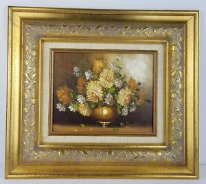 O-039-Donahue-Original-Oil-on-Canvas-Flowers-Painting-W-Gold-Wood-Frame