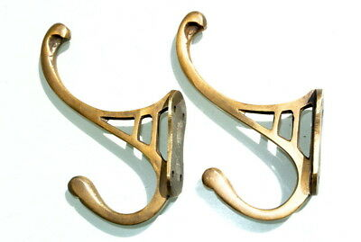 """Architectural & Garden Well-Educated 2 Natural Look Hall Stand 4 Coat Hooks Door Solid Brass Aged Old Style 4 """"deco To Have Both The Quality Of Tenacity And Hardness"""