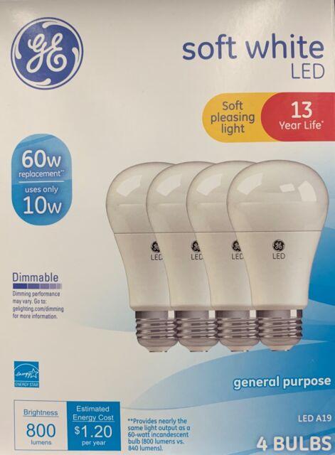 GE Lighting 67615 Dimmable LED A19 Light Bulb with Medium Base Soft White 10-Watt 3 x 4-Pack 12-Pack