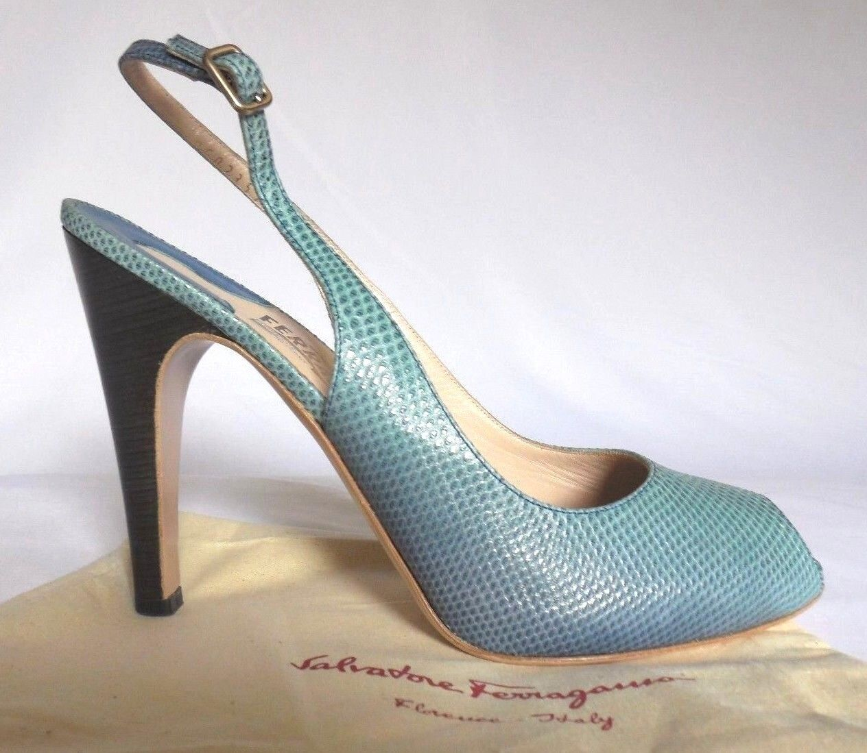 Salvatore FERRAGAMO Shady Blau Skale Leather HigHeelSlingback Sandal  Sz10B
