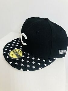 6ee15098d43 Chicago Cubs New Era Starry Cap 59FIFTY MLB Black   White Fitted Hat ...