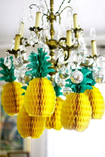 5Pcs Tropical Fiesta Big Pineapple Honeycomb Centerpiece Table Decorations