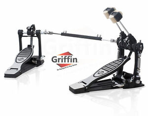 Double-Bass-Drum-Pedal-by-Griffin-Twin-Kick-Drum-Pedal-Dual-Chain-Percussion