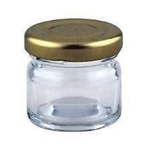 10-x-41ml-small-1-5oz-42g-MINI-GLASS-JARS-GOLD-LIDS-marmalade-jam-paint-pots