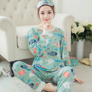 Details about Women Girls Cotton Sleepwear Long Sleeve Pajamas Sets Cartoon  Printing Suit Cute c044e8d40