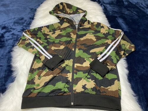 Odiva Camouflage Hoodie Zip Up Blouse Size S/M