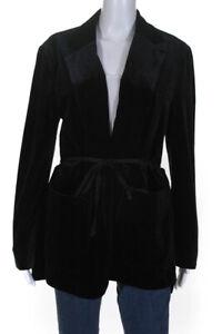 French-Connection-Womens-Grosgrain-Belted-Velvet-Jacket-Black-Size-8