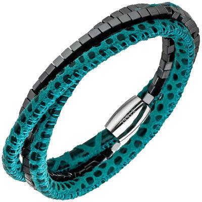 Armband Armschmuck Aus Leder Türkis Mit Hämatit Würfeln & Edelstahl 19cm, Damen