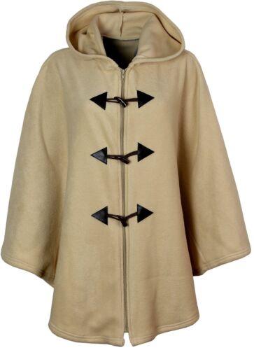 Ladies Womens Warm Fleece Fleecy Hooded Cape Ponchos Loose Fit Size 14-26
