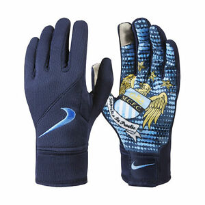 Details Zu Nike Manchester City Feld Spieler Handschuhe Training Fussball Marineblau Blau
