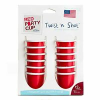 Trudeau Red Party Cup Twist 'n Shot Reusable Jello / Gelatin Shot Glasses - 12pk