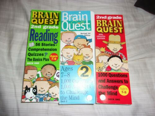 LOT OF 3 BRAIN QUEST 2ND GRADE AGE 7 8 READING CHALLENGE THE MIND QUESTIONS HOME