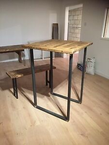 Image Is Loading Breakfast Bar Legs Industrial Chic Rustic Bar Table