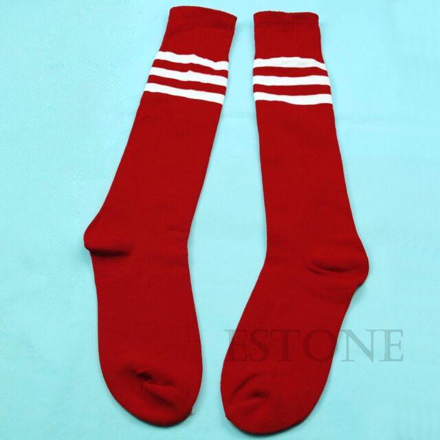 Girls Women Thigh High Sock Over Knee Legging Socks Stockings Stripe Cheerleader