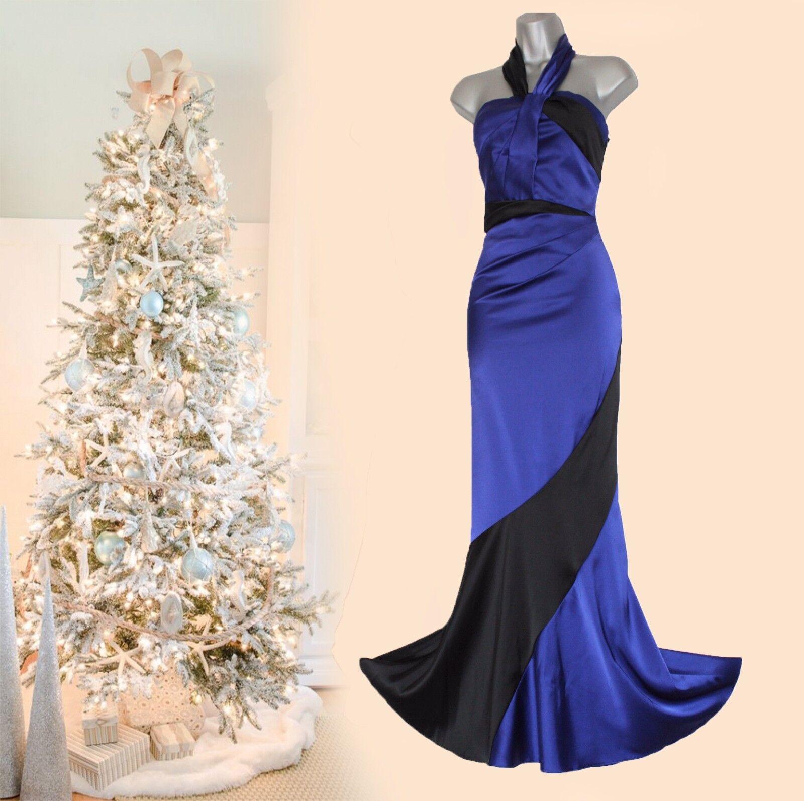 Karen Millen Blau schwarz Satin Halterneck Low Low Low Open Back Fishtail Maxi Dress 10 38 4cd66a