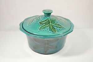 VINTAGE-blue-green-Calif-USA-Pottery-Leaf-casserole-vegetable-covered-dish-374