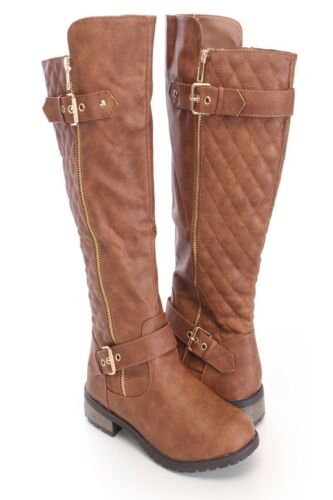 Quilted Women-Knee-High-Lace-Up Military-Combat-Boots-Riding-Style-Zipper