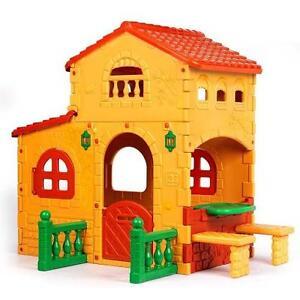 Casetta Per Giardino Plastica.Gioco Casetta Villa In Plastica Esterno Feber Giardino Bambini