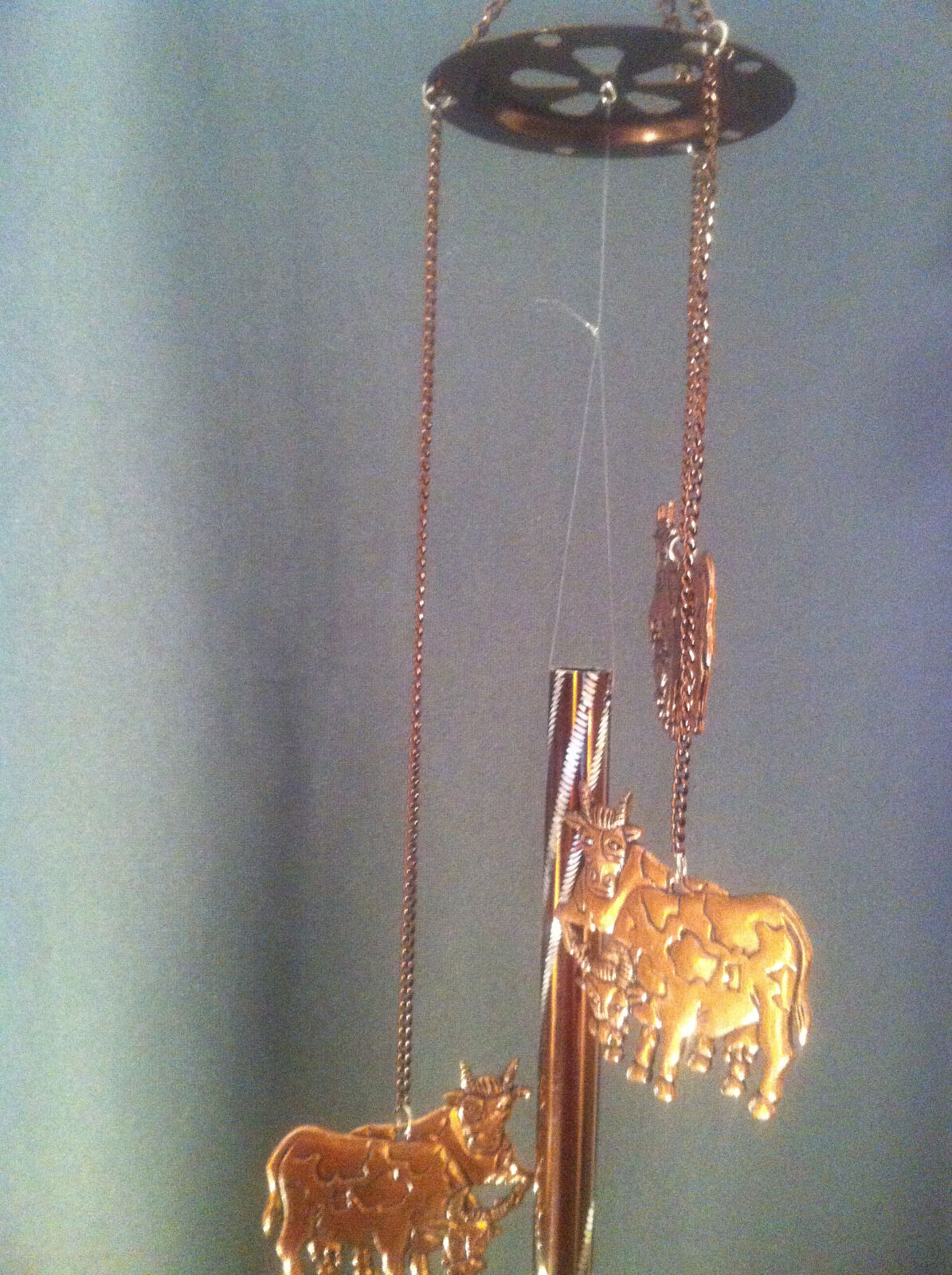 Cadona Pewter-Like Copper 3 Cows Wind Chime