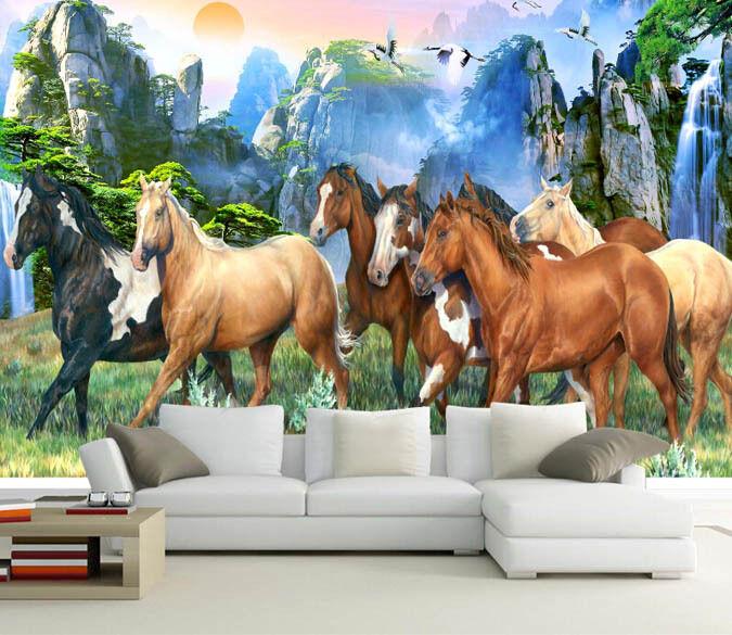 3D Eight Horses 618 WallPaper Murals Wall Print Decal Wall Deco AJ WALLPAPER
