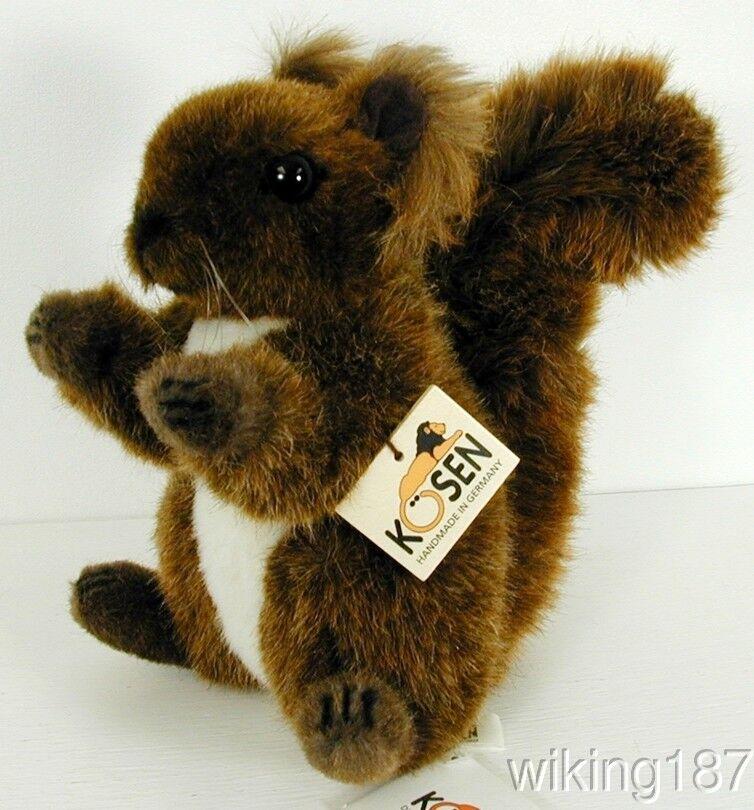 KOSEN Made in Germany NEW Sitting Brown & White Squirrel Plush Toy
