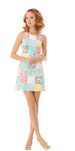 NWT Lilly Pulitzer delia shift dress multi state patch Size 4