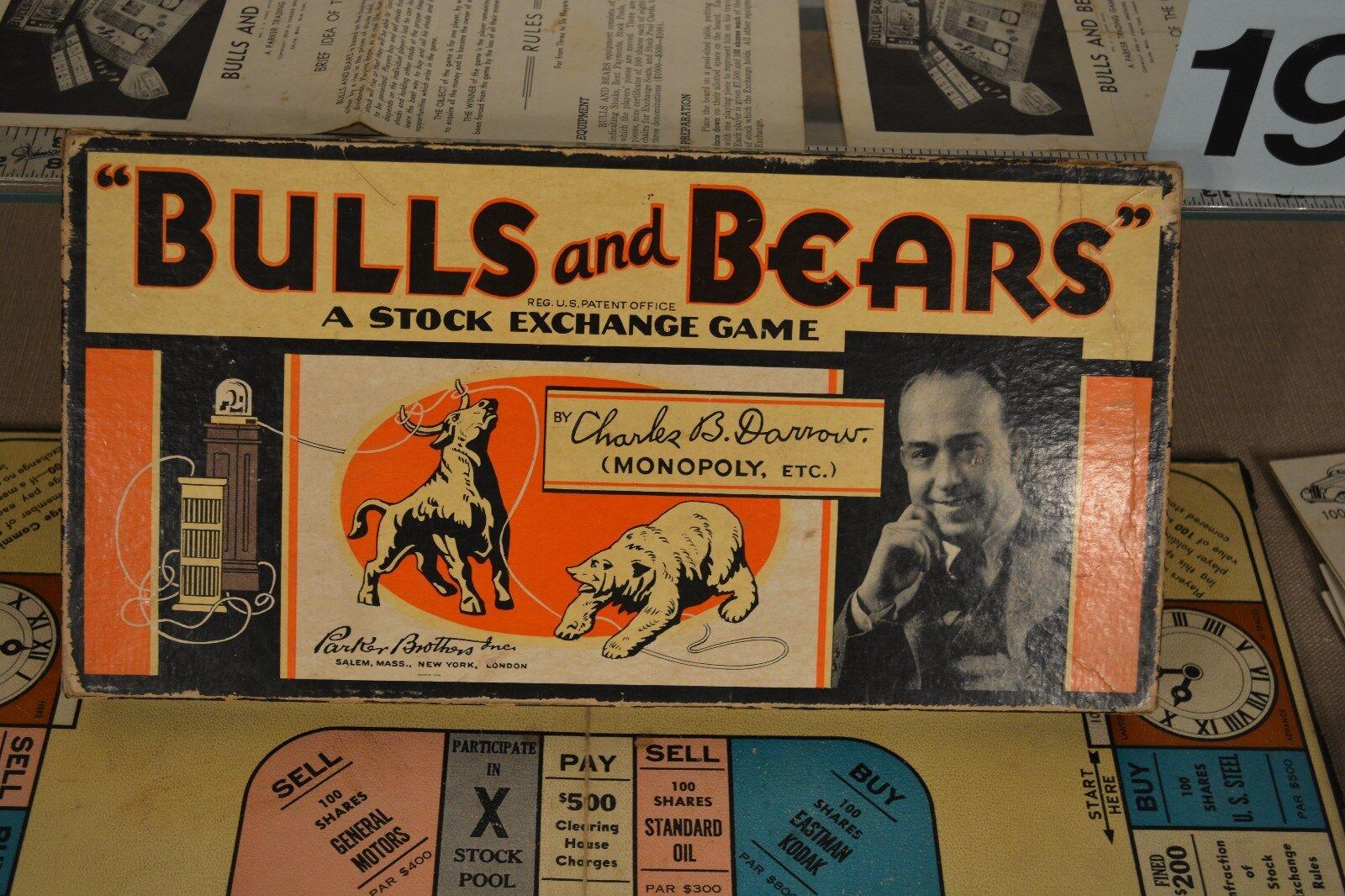 Mercado de valores Toro Y Oso 1936 Parker Brossohers Darrow juego AT&T, Gemini exclusivo, GM, Kodak