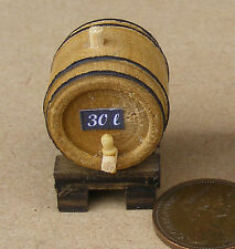 1:12 Scale Small Wooden 30L Beer Barrel On A Stand Dolls House Pub Accessory H