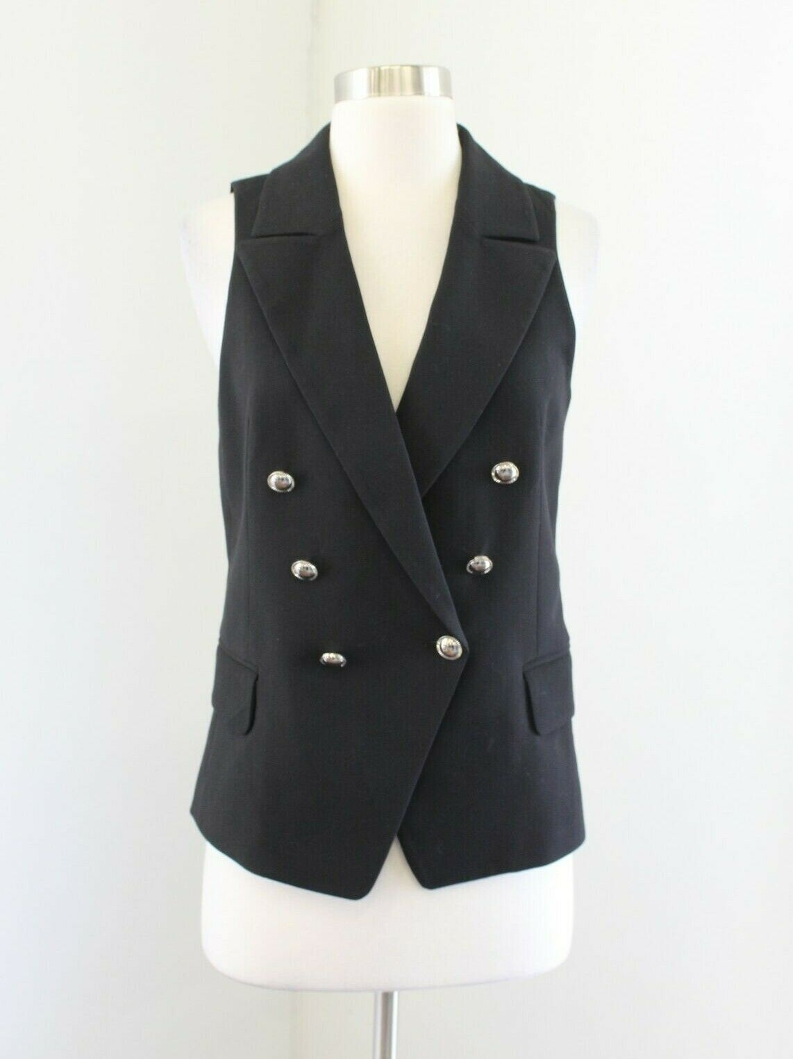White House Black Market Womens Black Double Breasted Trophy Vest Size 2