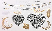 Tattoo Gold Silber Schwarz Einmal Klebe Flash Temporary 7teile Armband WOW 3028