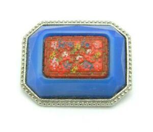 Enamel-Inlay-Cinnabar-Floral-Flower-Blue-Art-Glass-Silver-Tone-VTG-Pin-Brooch