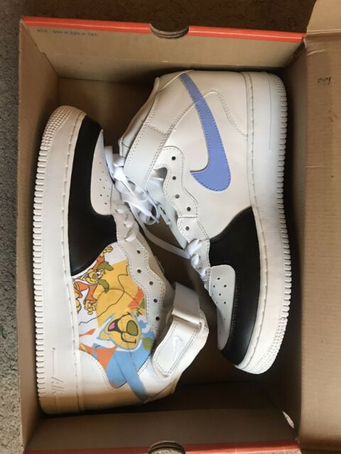 Nike Air Force 1 Mid White Size 10 12. Men Leather Shoes WDeputy Dog painted