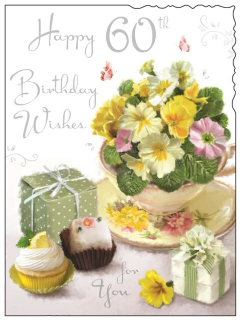 Happy 60th 60 Birthday Card For A Lady Luxury Made In UK