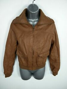 WOMENS-NEW-LOOK-BROWN-ZIP-UP-LIGHTWEIGHT-CASUAL-WINTER-FAUX-LEATHER-JACKET-UK-10