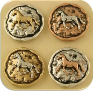 2 Hole Beads Horse Circles 3T Rustic ~ Equestrienne Western Charms Sliders QTY 4