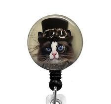 Steampunk Cat ID Badge Holder Retractable Badge Reel Nurse Badge RN Name Tag