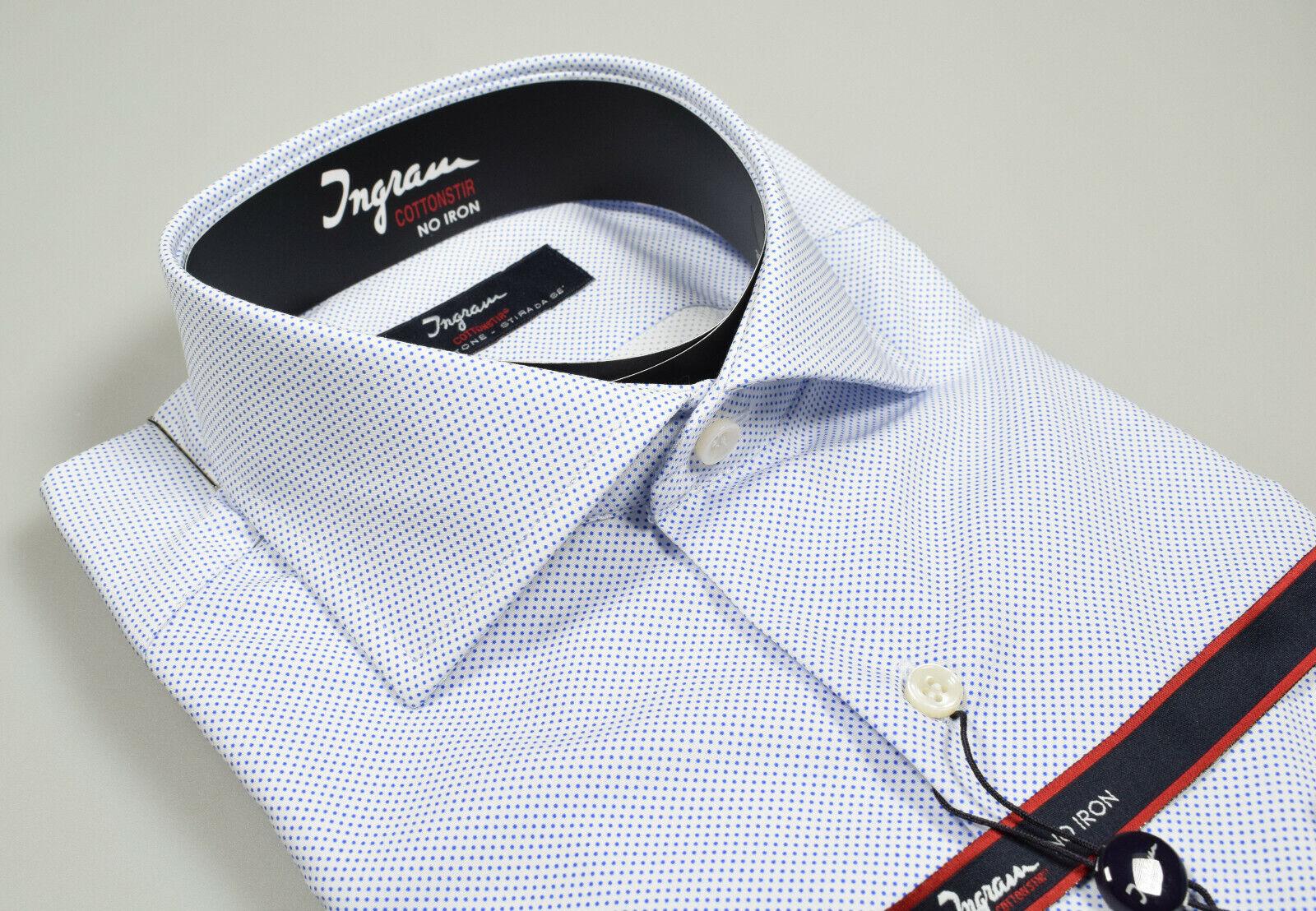 Camicia Ingram Slim Fit fondo Bianco a Pois piccoli Azzurro Collo alla Francese