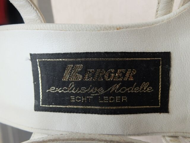 BERGER exclusive Modelle Pumps Sandaletten Weiß Leder 80er True VINTAGE 80s